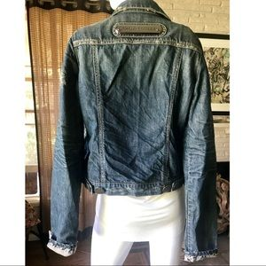 Thomas Wylde Jackets & Coats - Thomas Wylde Distressed Blue Denim Fitted Jacket